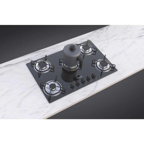 Cooktop a gas Tramontina de vidrio templado negro y rejillas de acero al carbono, con encendido automático y 5 quemadores.