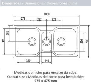 """""""93831/123 LAVAPLATO MAREA 2.5 CUBETAS PRIME 1000X500 mm"""""""