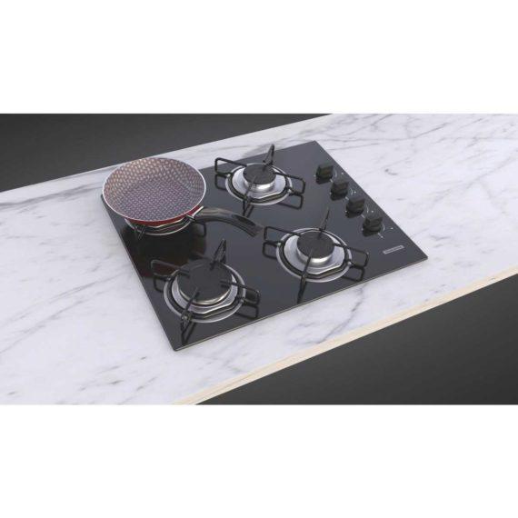 Cooktop a gas Tramontina de vidrio templado negro y rejillas de acero al carbono, con encendido automático y 4 quemadores.