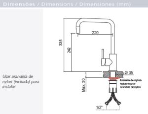 """""""94520/022 MESCLADOR ANGOLARE EN ACERO INOX MONOCOMANDO"""""""