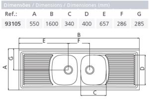 """""""93105/601 LAVAPLATO RIBON CUBETA DOBLE + ESCURRIDOR DOBLE 1600X550mm"""""""